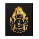 Fire Department Flaming Gold Badge iPad Folio Cover