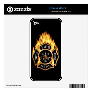 Fire Department Flaming Gold Badge Decal For iPhone 4S