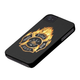 Fire Department Flaming Gold Badge iPhone 4 Case