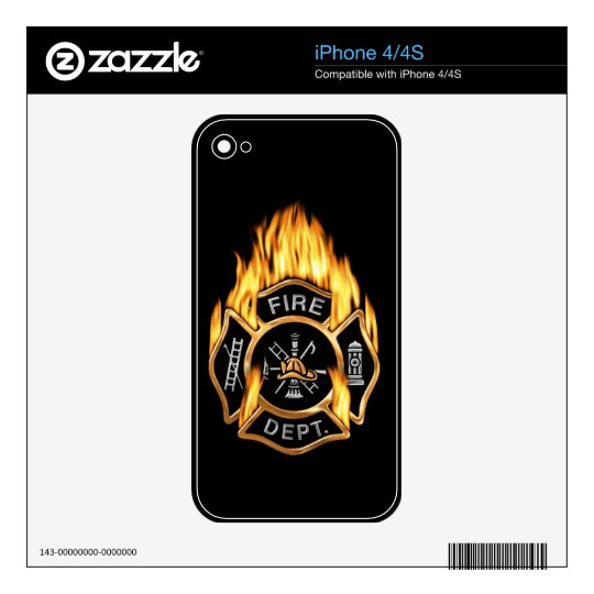 Fire Department Flaming Gold Badge iPhone 4S Decal