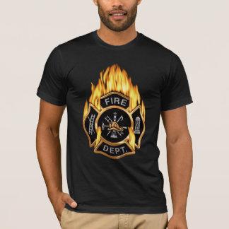 Fire Department Flaming Gold  Badge T-Shirt