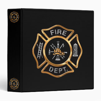 Fire Department Gold Badge 3 Ring Binder