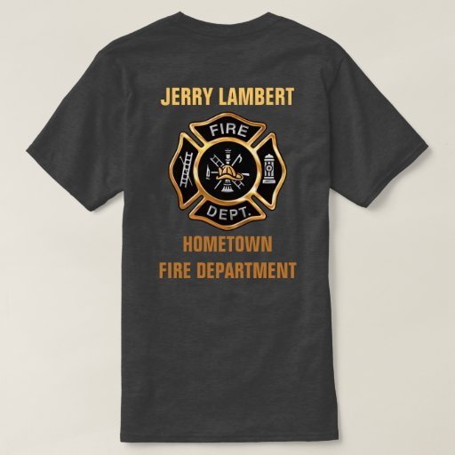 Fire department gold badge custom tee shirt zazzle for Custom fire t shirts