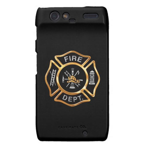 Fire Department  Gold Badge Droid RAZR Cases
