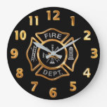 Fire Department Gold Badge Large Clock at Zazzle
