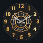 """Fire Department Gold Badge Large Clock<br><div class=""""desc"""">Gold and Silver Fire Department logo. Great for firemen and first respondents.</div>"""