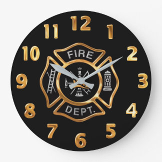 Fire Department Gold Badge Large Clock