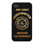 Fire Department Gold Badge Name Template Case For iPhone 4