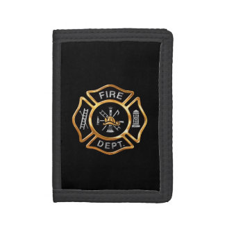 Fire Department Gold Badge Tri-fold Wallets
