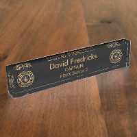 Fire Department Gold Desk Name Plate