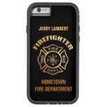 Fire Department Gold Name Template Tough Xtreme Iphone 6 Case at Zazzle