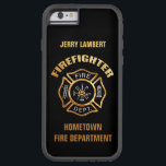 """Fire Department Gold Name Template Tough Xtreme iPhone 6 Case<br><div class=""""desc"""">Gold and Silver Fire Department logo. Great for firemen and first responders. Personalize with your name.</div>"""
