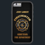 "Fire Department Gold Name Template Tough Xtreme iPhone 6 Case<br><div class=""desc"">Gold and Silver Fire Department logo. Great for firemen and first responders. Personalize with your name.</div>"