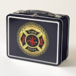 """Fire Department logo Black And Gold Badge Metal Lunch Box<br><div class=""""desc"""">Fire Department logo Black And Gold Badge With Fire Axes and ladder. Great for firemen and first respondents. Personalize with your name and department home town and more.monogram</div>"""