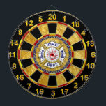 """Fire Department logo Blue And White Badge Dart Board<br><div class=""""desc"""">Fire Department logo Blue And White Badge With Fire Axes and ladder. Great for firemen and first respondents. Personalize with your name and department home town and more.monogram</div>"""
