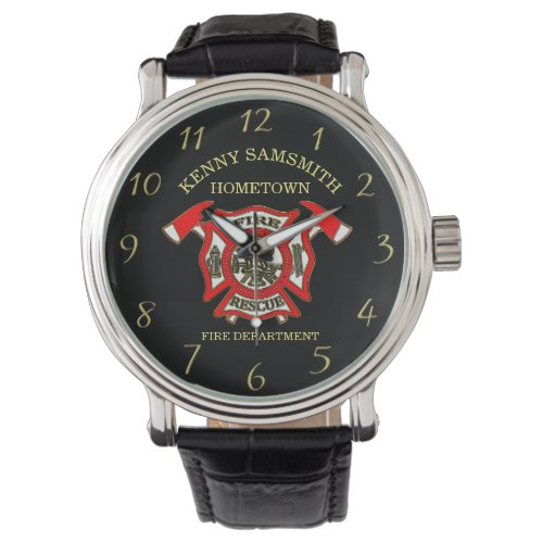 Fire Department logo Gold And Red Badge With Axes Watch