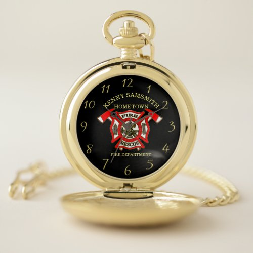 Fire Department logo Gold And Red Badge With Fire Pocket Watch