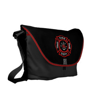 Fire Department Red Courier Bag
