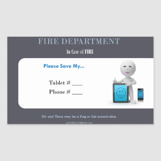 Fire Department rescue my tablet Rectangle Sticker