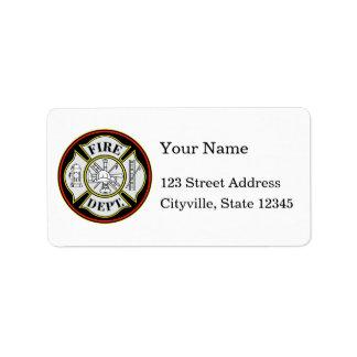 Fire Department Round Badge Address Label