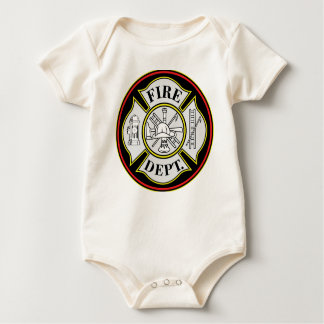 Fire Department Round Badge Baby Bodysuit