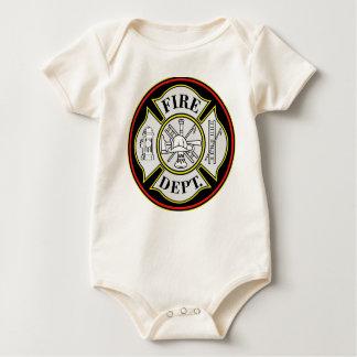 Fire Department Round Badge Baby Bodysuit