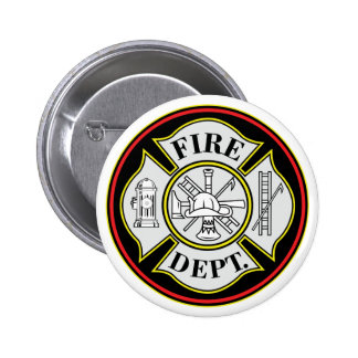 Fire Department Round Badge Pinback Buttons