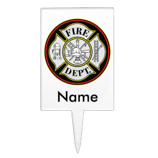 Fire Department Round Badge Cake Topper