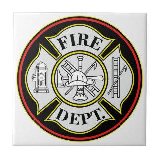Fire Department Round Badge Ceramic Tile