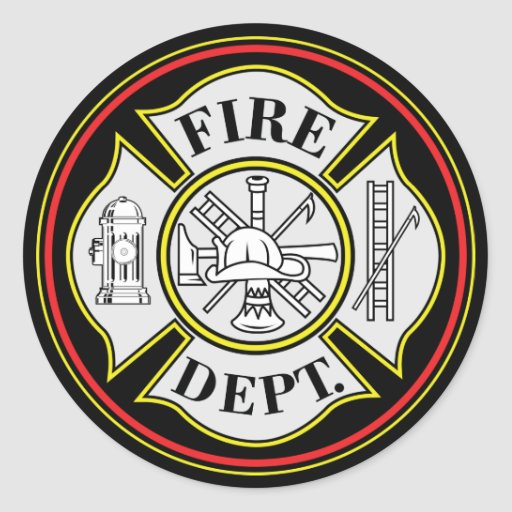fire department round badge classic round sticker zazzle