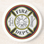 Fire Department Round Badge Coasters