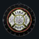 """Fire Department Round Badge Dartboard<br><div class=""""desc"""">Red and yellow firefighters badge in circle. Fireman&#39;s,  helmet,  hook and ladder,  fire hydrant and more create a great firefighting gift!</div>"""