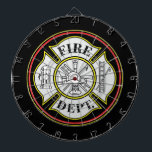 "Fire Department Round Badge Dartboard<br><div class=""desc"">Red and yellow firefighters badge in circle. Fireman&#39;s,  helmet,  hook and ladder,  fire hydrant and more create a great firefighting gift!</div>"