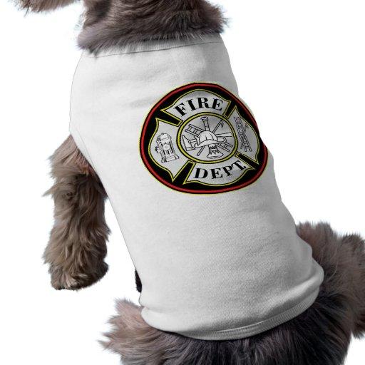 Fire Department Round Badge Doggie T-shirt