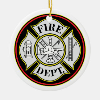 Fire Department Round Badge Double-Sided Ceramic Round Christmas Ornament