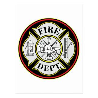 Fire Department Round Badge Postcard
