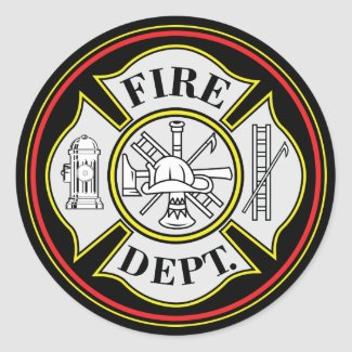 fire department round badge round sticker - Firefighter Badges Coloring Pages