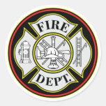 Fire Department Round Badge Round Sticker