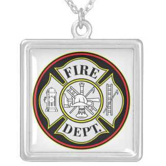 Fire Department Round Badge Square Pendant Necklace