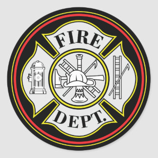 Fire Department Round Badge Classic Round Sticker
