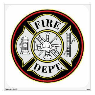 Fire Department Round Badge Wall Decal