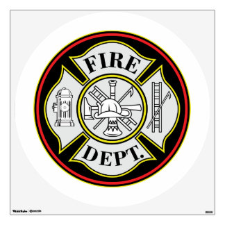 Fire Department Round Badge Wall Sticker