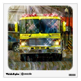 Fire Department Yellow Firetruck Window Decal