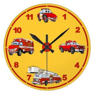 Fire Dept Cartoon Clock Orange