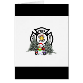 Fire Dept Christmas Scene Greeting Cards