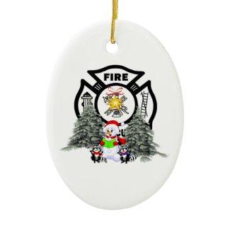 Fire Dept Christmas Scene ornament