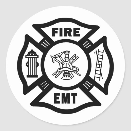Fire Dept EMT Classic Round Sticker