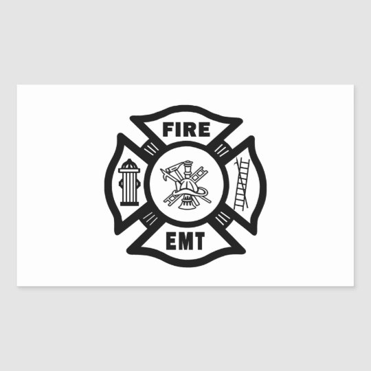Fire Dept EMT Rectangular Sticker