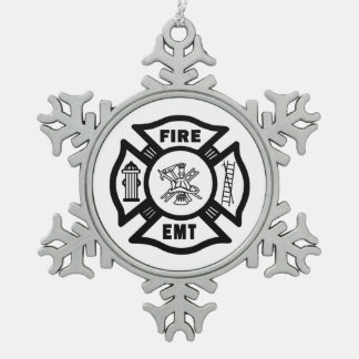 Fire Dept EMT Snowflake Pewter Christmas Ornament