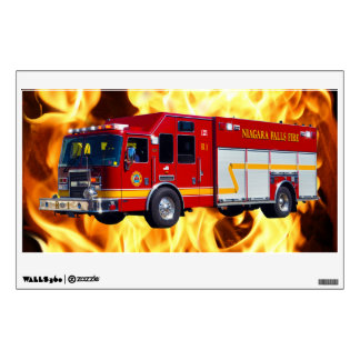 Fire Dept Fire Truck & Flames Window Decal